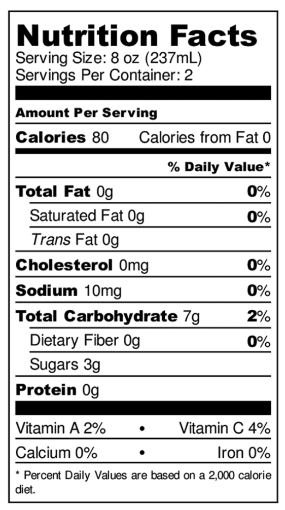 Kombucha Nutrition Facts