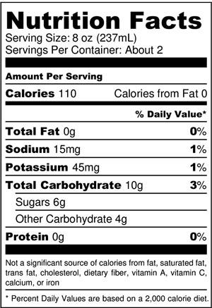 Pina Colada Kombucha Nutrition Facts